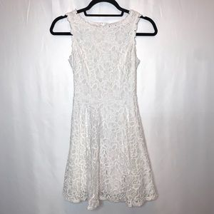 City Studio White Floral Lace Fit And Flare Dress